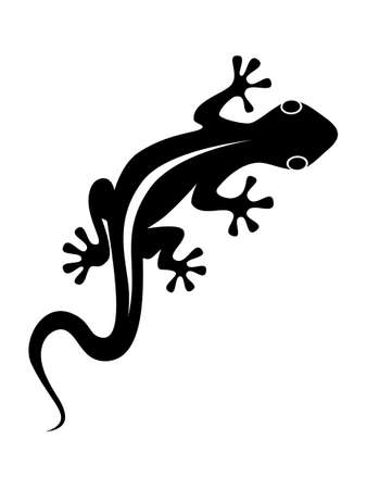 Abstract black symbol or sign lizard isolated on white background. Flat icon vector illustration