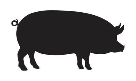 Sign pig. Isolated black silhouette pig on white background. Vector illustration Vectores