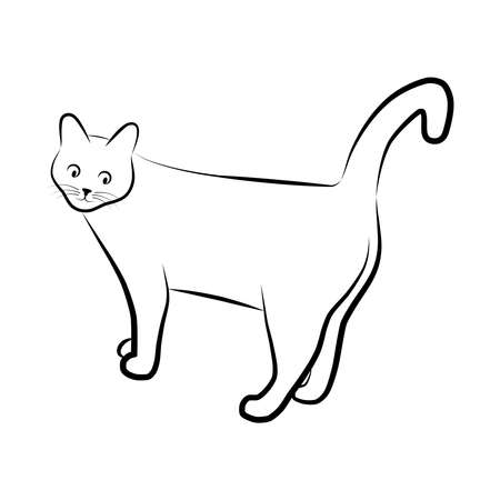 Silhouette cat. Isolated sign of a cat on a white background. Symbol cat. Vector illustration