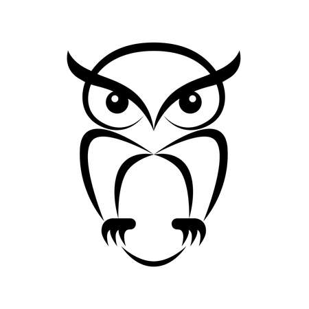 Icon owl. Flat sign owl. Isolated black logo owl on white background. Vector Illustration Illustration