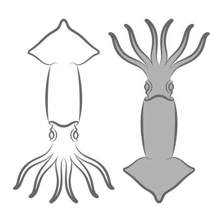 Sign squid. Symbol squid Isolated on white background. Logo squid. Vector illustration
