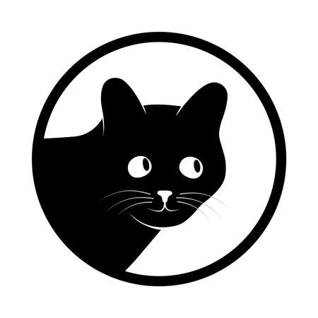 Sign head cat. Isolated black silhouette head cat in circle on white background. Vector illustration Çizim