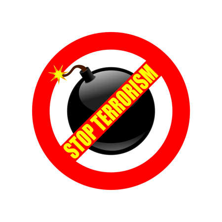 Symbol or sign stop terrorism. Red prohibition sign over black bomb and text stop terrorism. Abstract vector illustration.