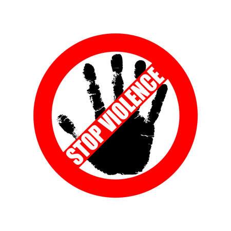 """Symbol oder Zeichen stoppen Gewalt. Rotes Verbotsschild über schwarzer Hand und Text """"Gewalt stoppen"""". Abstrakte Vektorillustration."""