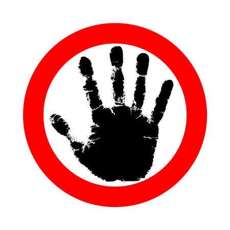 Symbol or sign stop. Red stamp with black hand. Abstract icon no movement allowed. Vector flat style illustration isolated on white background