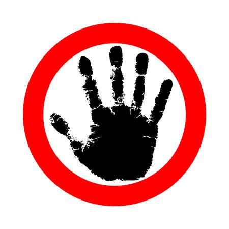 Symbol- oder Zeichenstopp. Roter Stempel mit schwarzer Hand. Abstraktes Symbol keine Bewegung erlaubt. Vector flache Artillustration lokalisiert auf weißem Hintergrund