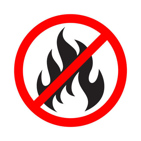 No fire sign. No flame icon. Prohibition sign stop fire. Abstract isolated symbol on white background. Vector illustration Ilustração