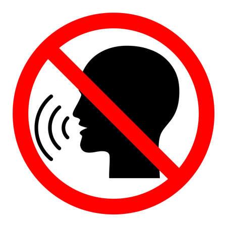 Segno di smettere di parlare. Segnale di divieto rosso sulla testa parlante nera. Icona isolata su sfondo bianco. Vettore