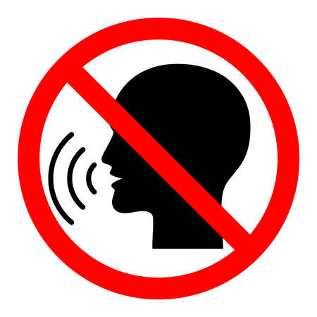 Sign stop talking. Red prohibition sign on black talking head. Isolated icon on white background. Vector