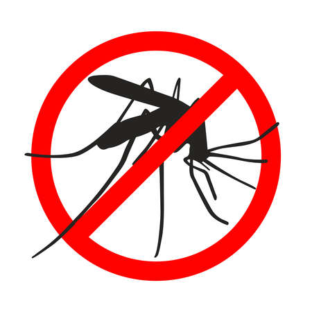 Warning sign mosquitoes, prohibited sign. Symbol for informational and institutional sanitation and related care