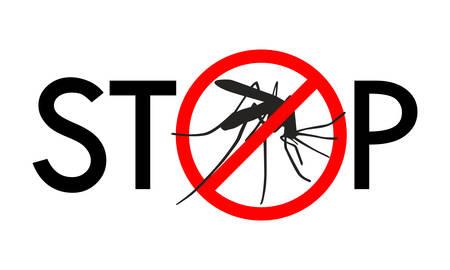 Symbol or sign stop mosquito. Red prohibition sign on black silhouette mosquito and text stop. Abstract vector illustration.