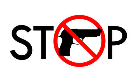 Symbol or sign stop guns. Sign in red