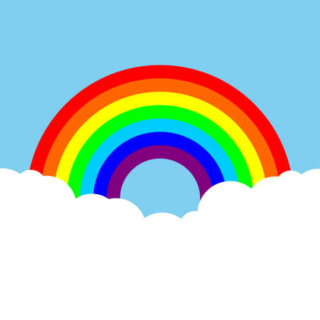 Color rainbow with white clouds and blue sky. Colorful background. Vector illustration
