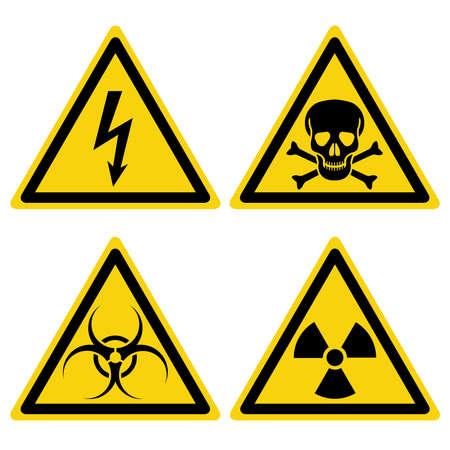 Hazard warning set triangular yellow icons. Isolated symbols on white background. Vector illustration. Ilustración de vector