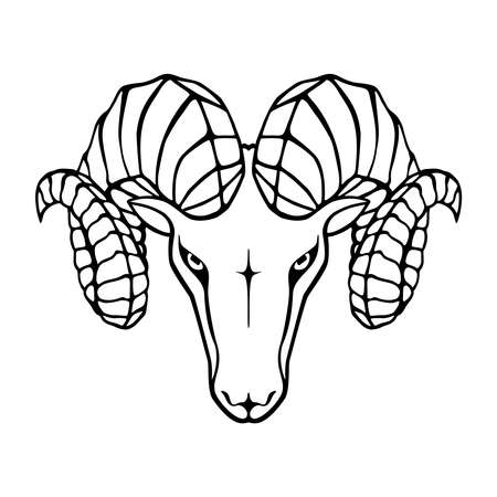 Icon aries. Symbol argali. Black sign head ram isolated on white background. Abstract flat vector illustration Vettoriali