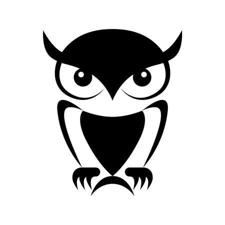 Icon owl. Flat sign owl. Isolated black owl on white background. Vector Illustration