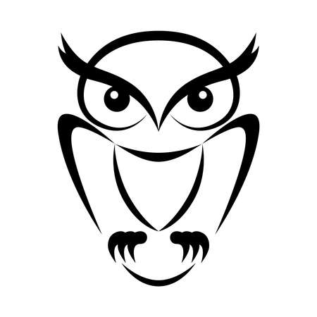 Symbol owl. Flat sign owl. Isolated black owl on white background. Vector Illustration