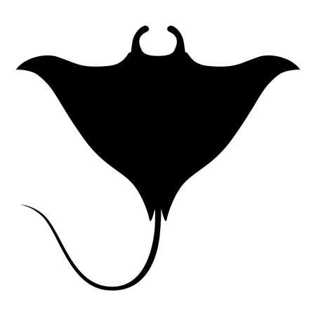 Symbol-Mantarochen. Lokalisiertes schwarzes Zeichen auf weißem Hintergrund. Vektor-Illustration