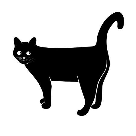 Silhouette cat. Isolated sign of a cat on a white background. Black cat. Vector illustration Çizim