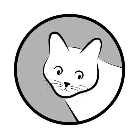 Sign head cat. Isolated black silhouette head cat in gray circle on white background. Vector illustration