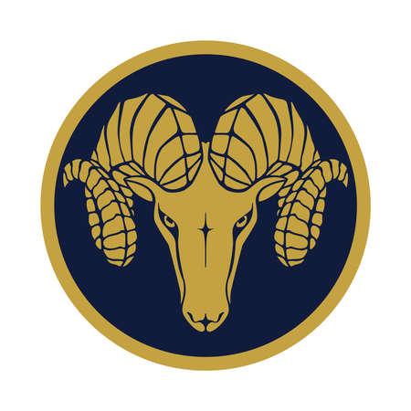 Znak złota głowa barana. Ikona Baran w niebieskim kółku na białym tle. Symbol argali. Ilustracja wektorowa Ilustracje wektorowe