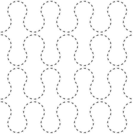 Seamless pattern ants path. Black lines of worker ants isolated on white background. Vector illustration