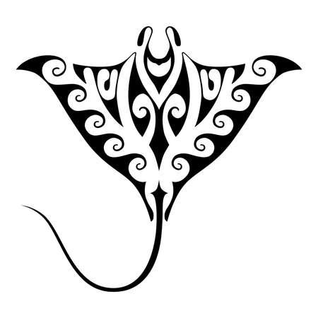 Symbol-Mantarochen. Isolierte Zeichen auf weißem Hintergrund. Tattoo mit polynesischem Stilelement