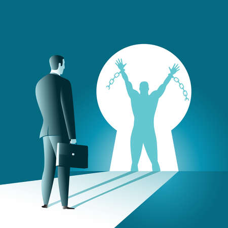 The businessman looks at his shadow and sees a liberated person thinks about freedom of choice the road to the goal. Vector illustration