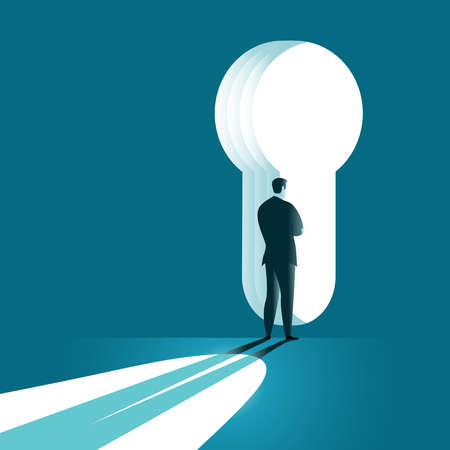 Businessman standing in front of a keyhole and looking for a solution. Business concept vector illustration