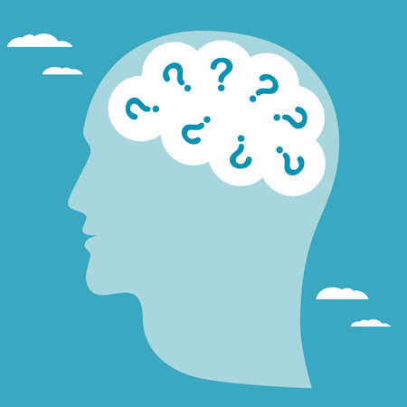 Abstract symbol of many questions arising in human head. Business concept vector illustration