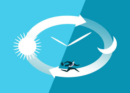Hurry. Stressed businessman running in clocks dial.  Business concept vector illustration