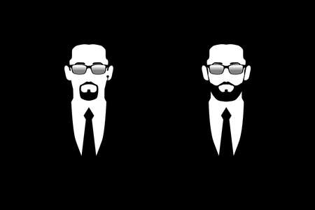 Men in black suits and sunglasses. Symbol safety. Bodyguards, security, face control. Isolated flat vector illustration on black background Illustration