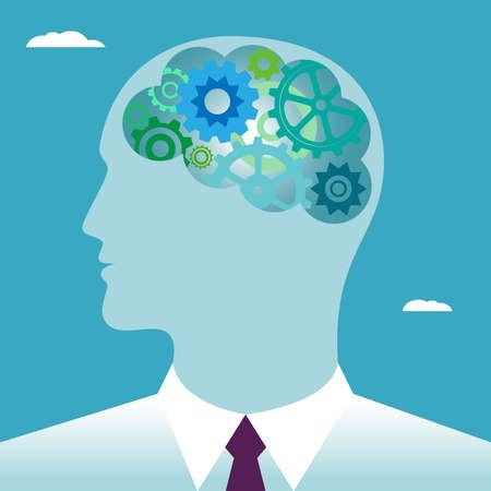 Testa umana con ingranaggi. testa Pensiero della testa dell'uomo d'affari. Concetto di affari. Illustrazione vettoriale piatto. Vettoriali