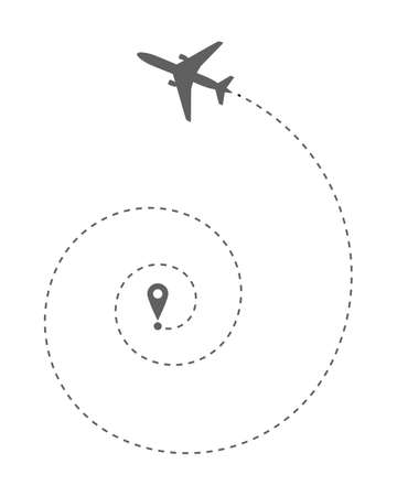 Airplane route in dotted line shape. Abstract grey airplane take off  on white background. Travel concept vector illustration