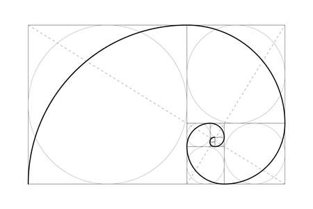 Golden ratio. Fibonacci number. Circles in golden proportion. Geometric shapes. Abstract vector background. Vector  Illustration
