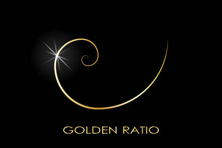 Golden ratio. Fibonacci number. Circles in golden proportion. Geometric shapes. Logo. Abstract vector background. Vector  Çizim