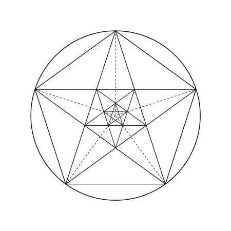 Pentagram. Pentagonal star. Golden section. Fibonacci number. Geometric shape. Abstract vector background. Vector Illustration
