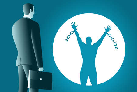 The businessman looks at his shadow. Businessman shadow breaks the chain and free himself. Financial freedom concept. Business concept vector illustration