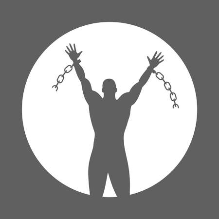 Broken chain. Sign silhouette liberated man. Symbol freedom concept. Vector illustration.