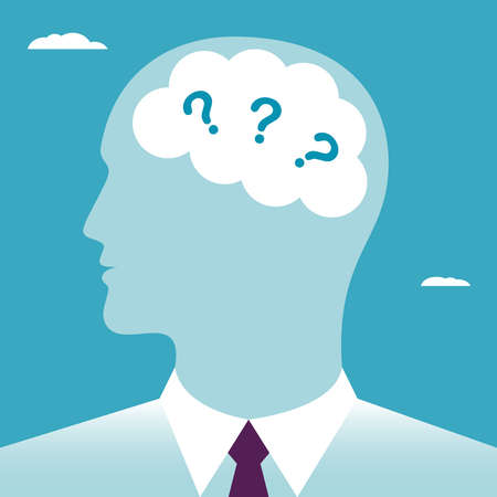 The questions in the human brain. Questions in the head businessmen. Business concept vector illustration.