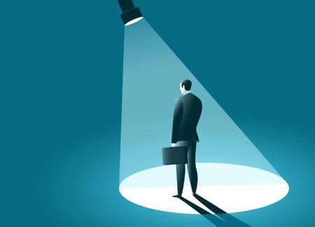 Businessman In the spotlight. Lantern directed at standing manager. Business concept. Vector illustration Ilustração