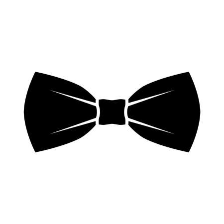 Black bow tie icon. Isolated sign bow tie on white background in flat design. Vector illustration Çizim