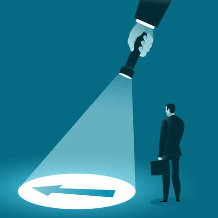 Guide to finding and choosing a direction. Hand with a flashlight illuminates the hidden arrow. Business concept. Vector illustration Ilustração