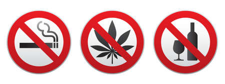 Set of prohibiting signs isolated on white background. Symbols: do not smoke, no alcohol, no drugs. Icons vector illustration Illustration