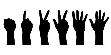 Hands icons with finger count. Hand gesture symbols, counting by bending fingers. Signs human hands. Silhouettes hands. Vector illustration.
