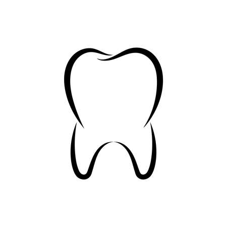 Outline tooth icon. Symbol tooth isolated on white background. Logo dental. Dental care design template. Vector illustration