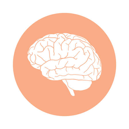 Sign human brain. Icon brain in rose circle isolated on white background. Vector illustration 일러스트