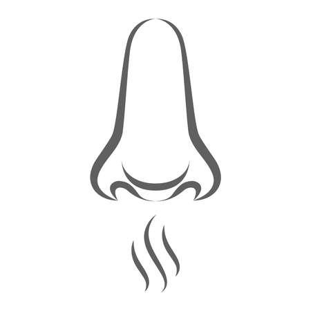 Icono de sentido del olfato. Sentido del olfato símbolo gris aislado sobre fondo blanco. Signo de olor abstracto. Ilustración vectorial