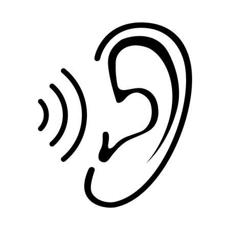 Icona dell'orecchio con onda sonora. Segno isolato su sfondo bianco. Simbolo per grafica e web design. Illustrazione vettoriale