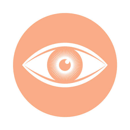 Sign human eye. Icon eye in rose circle isolated on white background. Vector illustration Foto de archivo - 117307075